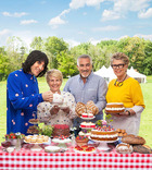 From left to right, GBBO presenters Noel Fielding and Sandi Toksvig and judges Paul Hollywood and Prue Ruth.