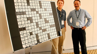 Tyler Hinman, 33, is a five time winner of the American Crossword Puzzle Tournament. Will Shortz, New York Times Crossword Puzzle Editor is on the right.